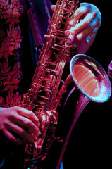 saxophone player in live perfomance