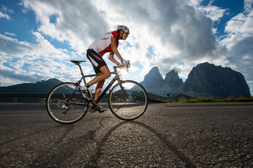 female cyclist in action