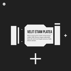 Monochrome banner template in strict style. Useful for presentations and web design.