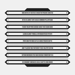 Monochrome menu template in strict style. Useful for presentations and web design.