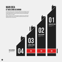 Monochrome vector chart template in strict style. Useful for presentations and web design.