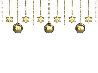 3D illustration golden stars and Christmas balls  on a white background