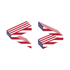 USA flag letter greater less than. Textured font