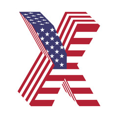 USA flag 3d latin alphabet letter X. Textured font