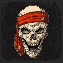 Skull pirate in bandana smiling. Black vintage engraving vector