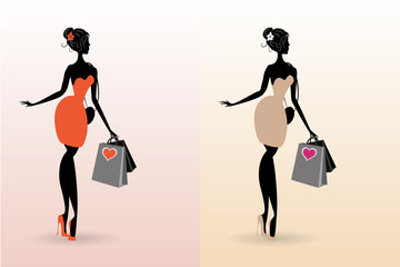 set vector silhouette woman shopping in valentine day ( heart , love , pantone 2017 ,  black friday )