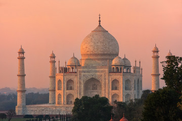 Wall Murals Monument View of Taj Mahal at sunset in Agra, Uttar Pradesh, India