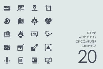 Set World day of computer graphics icons