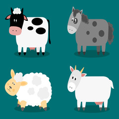 Funny cloven hoof farm animals collection. Isolated sheep, cow, donkey and goat. Vector illustration.
