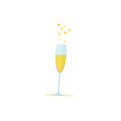 Glass of champagne. Vector icon in a flat style.