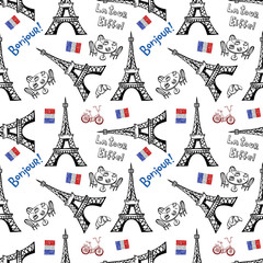 Seamless background with symbols of Paris