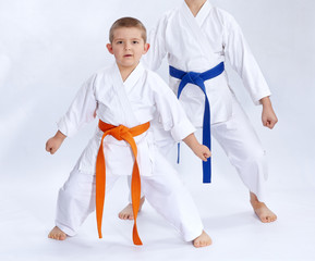 Brothers in karategi stand in the rack karate
