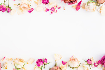 Frame of roses isolated on white background, Flat lay, Top view