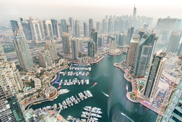 Printed roller blinds Dubai Aerial view of Dubai Marina from a vantage point at sunset