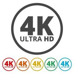Ultra HD 4K icons set