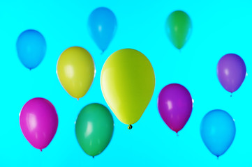 371957 Colorful balloons on blue