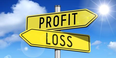 Profit, loss - yellow road-sign