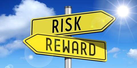 Risk, reward - yellow road-sign