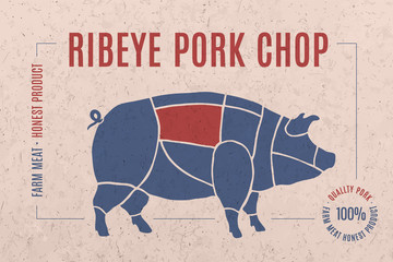 Label for pork steak meat cut with text Ribeye Pork Chop. Creative graphic design for butcher shop, farmer market. Advertising poster for meat related theme. Vector Illustration