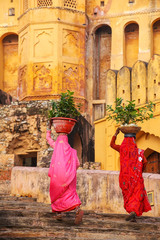 Local women carrying pots with plants on their heads at Amber Fo