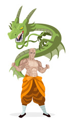 powerful shaolin monk with inner dragon