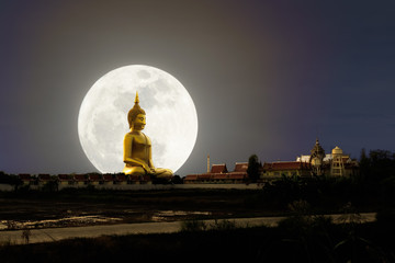 Big Buddha image with supper moon