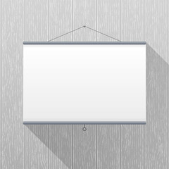Vector mockup. Projector Screen hanging on a gray wooden wall. Empty blank. Creative business interior template. Office whiteboard for presentations, conferences, learning. Rectangular layout.