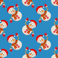 Snow Man in santa claus cap. Merry christmas concept with snowman in scarf gloves and hat. Xmas seamless pattern, tiling ornament. Vector illustration.