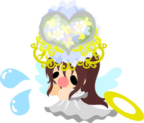 A pretty angel and mysterious crown