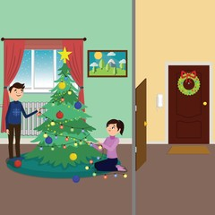 Man and woman decorating Christmas tree together. Family New Year.