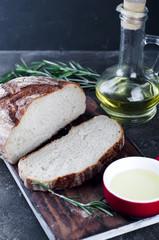 Sliced bread Ciabatta and extra virgin Olive oil