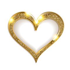 gold frame heart on a white background