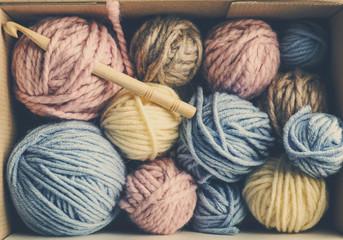 Balls of knitting yarn in box, closeup