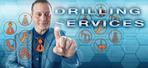 Happy Industrial Manager Pushes DRILLING SERVICES
