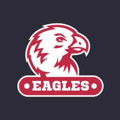 eagles logo, emblem template with white outline on dark