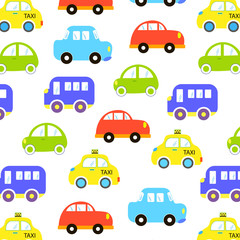 baby background for boys. Vector of Transportation colorful car pattern vector illustration