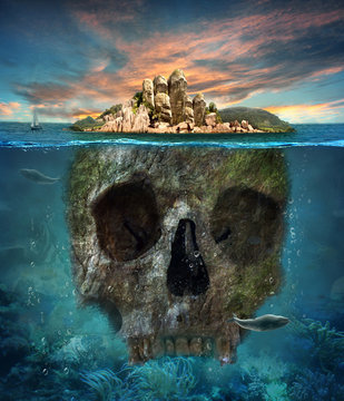 Island. Underwater scull. Concept graphic in soft oil painting s