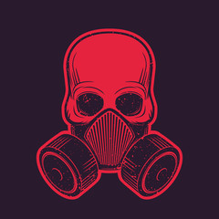 skull with respirator, gas mask, t-shirt design