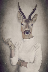 Papiers peints Animaux de Hipster Deer in clothes. Concept graphic in vintage style.