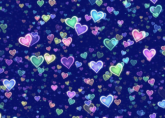 many multicolored hearts on blue background