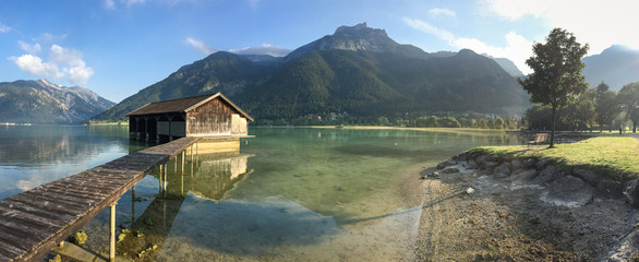Mountain lake view in the Brandenberger Alps