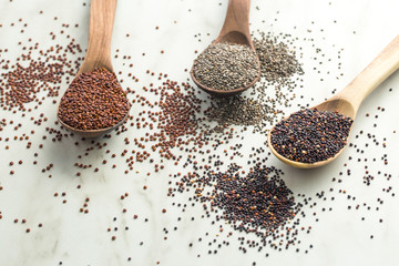 Red and black quinoa and chia seeds.