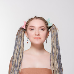 beautiful girl with dreads. Hairdressing.