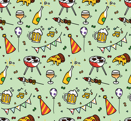 Garden party seamless background