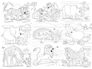 Set of cute African animals. Coloring page. Illustration for children