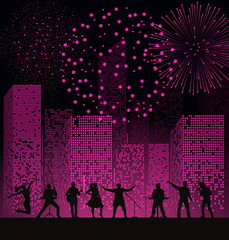 Band show on night city background with fireshow at pink style. Festival concept. Set of silhouettes of musicians, singers and dancers. Vector illustration