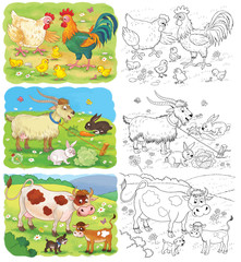 Set of cute farm animals. Coloring page. Cute hen, rooster, chicks, goat, rabbits,  cow and calf.