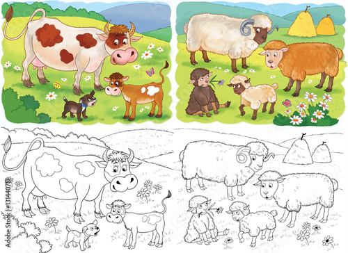 Set Of Cute Farm Animals Coloring Page Cow Calf Sheep