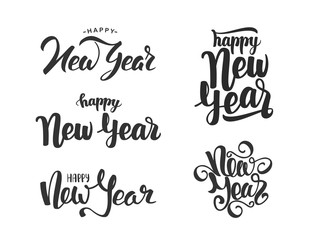 Vector illustration: Set of handwritten lettering compositions of Happy New Year.