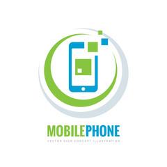Mobile phone vector logo template concept illustration. Smartphone creative sign. Modern technology. Cellphone symbol. Tablet PC icon. Design element.